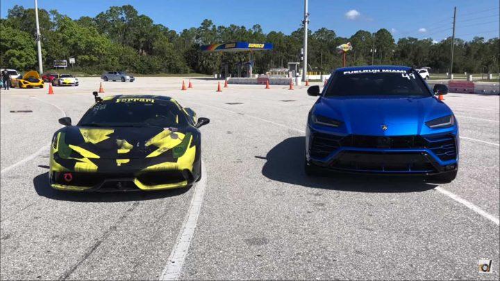Kto bude rýchlejší na šprinte? Ferrari 458 Speciale alebo Lamborghini Urus?