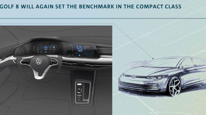 Volkswagen odhalil skicu nového Golfu. V interiéri nájdeme až tri displeje.