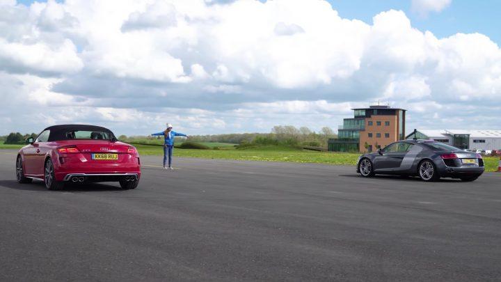 Súčasné Audi TTS vs Audi R8 V8 z roku 2008. Kto vyhraje na šprinte?