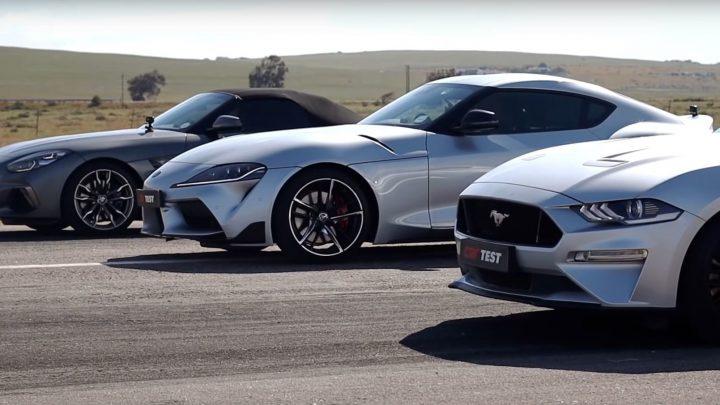 BMW Z4 vs Toyota Supra vs Ford Mustang. Kto vyhraje na šprinte?