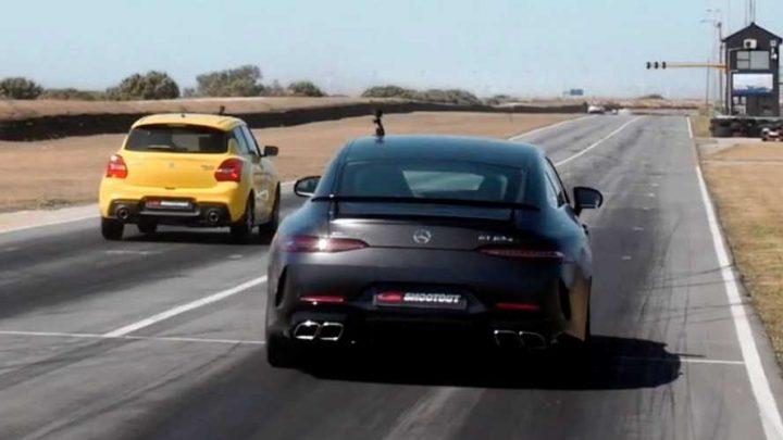 Suzuki Swift Sport vs Mercedes-AMG GT63 S. Kto vyhraje na šprinte?